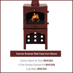 Carron Enamel Red Cast Iron Stove 4.7kw