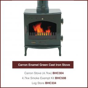 Carron Enamel Green Cast Iron Stove 4.7kw