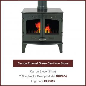 11kw Green Cast Iron Stove