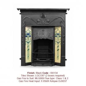 The Valentine Fireplace with a Black finish