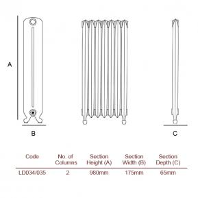 The Orleans Cast Radiator dimensions