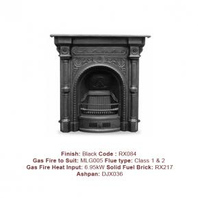 Tweed Fireplace in a Black finish