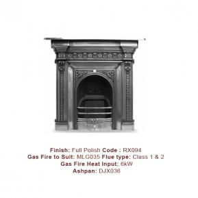 The Melrose Cast Fireplace with a Full Polish finish