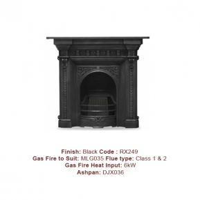 The Melrose Cast Fireplace with a Black finish