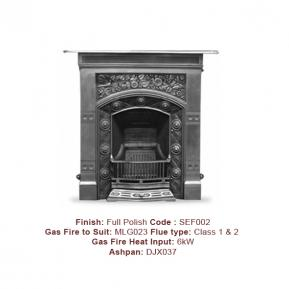 The Jekyll Cast Fireplace in a Full Polish finish