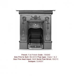 The Bella Cast Fireplace in a Full Polish Finish