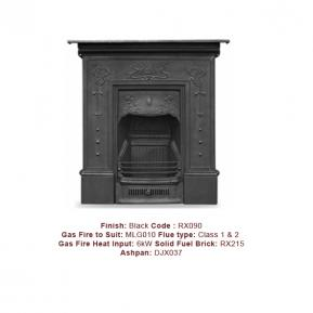 The Bella Cast Fireplace in a Black Finish