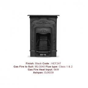 The Jasmine Cast Fireplace with a Black finish