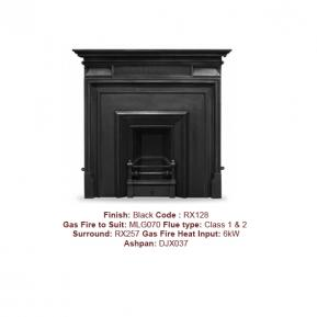 The Royal Cast Fireplace with a Black finish