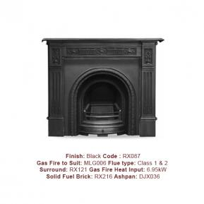 The Scotia Cast Fireplace, in a Black finish