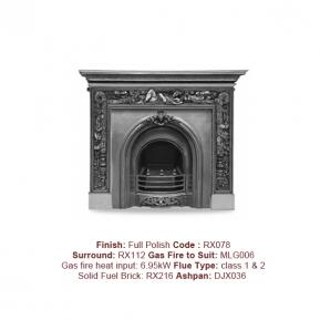 The Prince Cast Fireplace in Full Polish finish