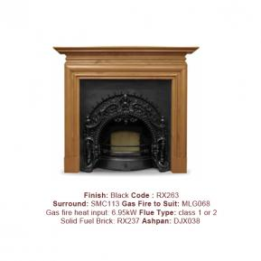 The Rococo Cast Fireplace in a Black finish. Surround sold separately.