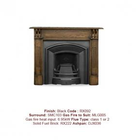 London Plate Cast Fireplace in a Black finish. Surround sold separately.