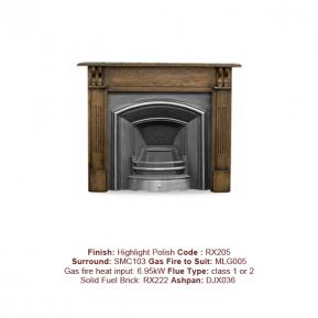 London Plate Cast Fireplace in a Highlight Polish finish. Surround sold separately.