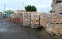 Reclaimed bricks in builders yard